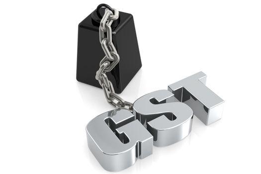 Metallic GST word chain to weight, 3D rendering