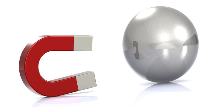 Red magnet attract metal ball, 3D rendering