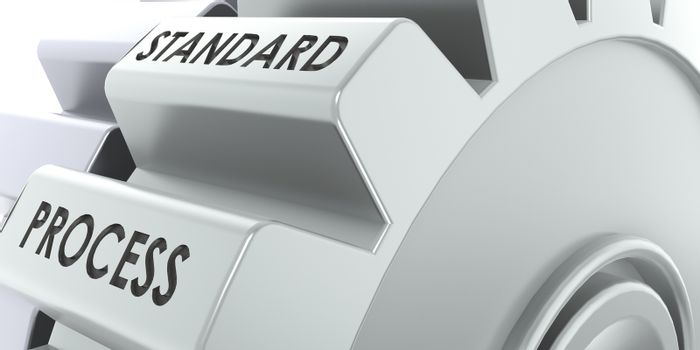 Standard process word on the metal gears, 3D rendering