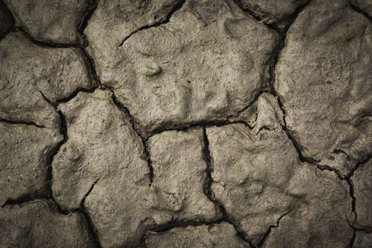 Desolate earth from above. Dry cracked surface top view. Crackin