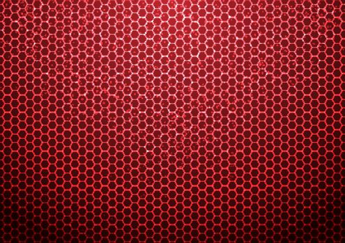 Abstract red hexagon pattern background with particles technology futuristic. Vector illustration