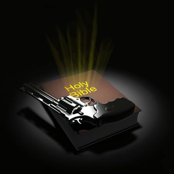 Holy Bible and revolver. 3D rendering