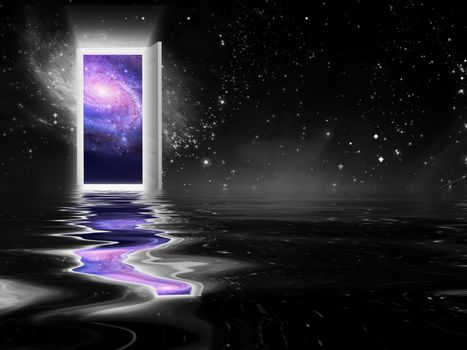 Portal to another universe. 3D rendering