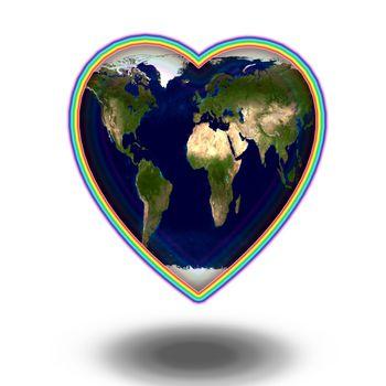 Planet Earth in Heart shape. 3D rendering