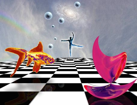 Surreal composition. Pink matter on chessboard, dancer and golden fish. 3D rendering