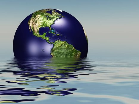 Drowning planet Earth. 3D rendering
