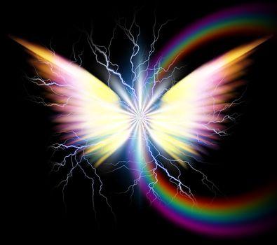 Angel wings and rainbow. 3D rendering