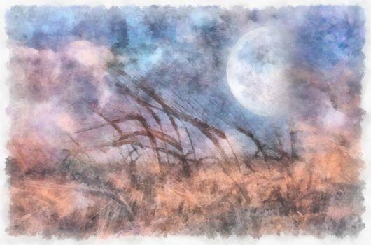 Field of wheat, full moon in the sky. 3D rendering