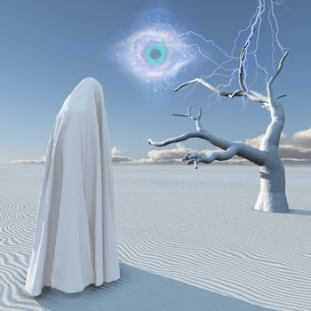Planet Zen. Figure in white clothes stands in surreal white desert. 3D rendering