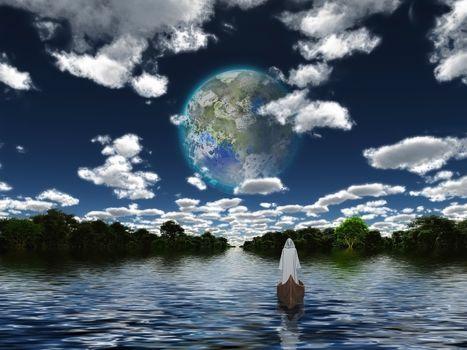 New World. Terraformed Moon seen from Earth. 3D rendering