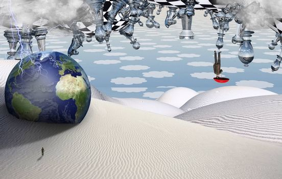 Surreal desert with chess figures. Globe and figure of man in a distance. Man flies with umbrella. 3D rendering