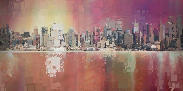 Modern Abstract. Manhattan New York. 3D rendering