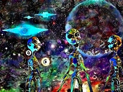 Aliens and spacecrafts. 3D rendering