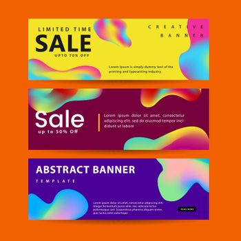 Set of abstract modern graphic liquid banners. Dynamical waves different colored fluid forms. Isolated templates with flowing liquid shapes.