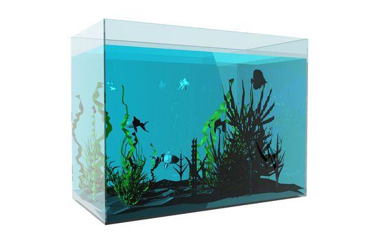 Aquarium with fish and aquatic plants