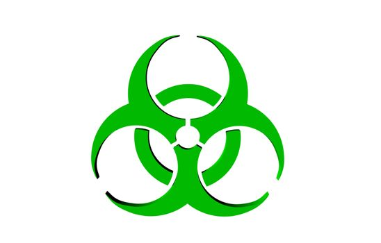 intertwined circles as a symbol for biological contamination