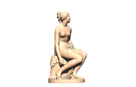 marble figure of a youthful woman on stone with bath towel