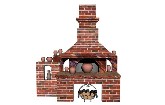 brick fireplace with extractor