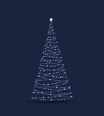 Vector illustration Christmas tree from lights. Christmas tree on blue background