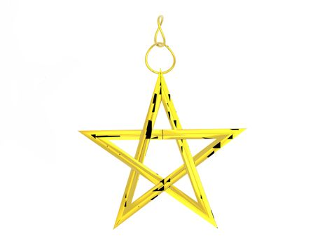 golden five-pointed star as a pendant on a gold chain