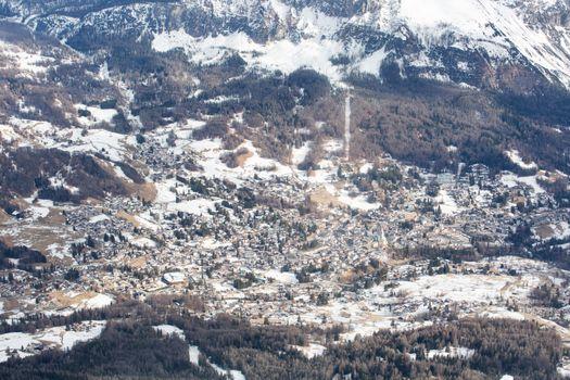 Cortina d'Ampezzo winter town view