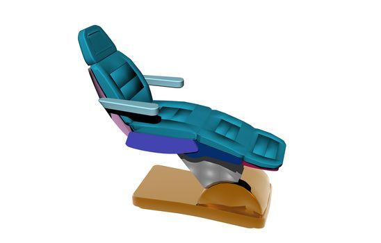 blue dentist chair in practice
