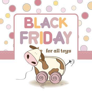Black friday banner for kids shop.  Vector