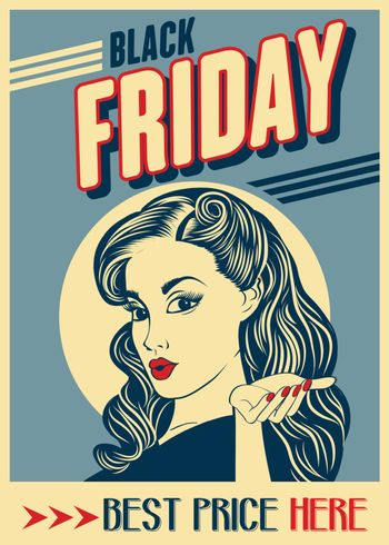 Black friday banner with pin-up girl. Retro style. Vector