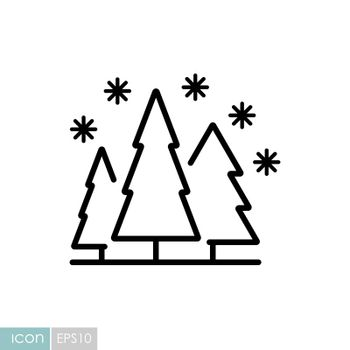 Snow forest vector icon. Winter sign. Graph symbol for travel and tourism web site and apps design, logo, app, UI