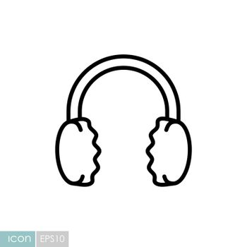 Winter headphones earmuffs vector icon. Winter sign. Graph symbol for travel and tourism web site and apps design, logo, app, UI