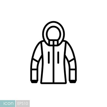 Winter Jacket vector icon. Winter sign. Graph symbol for travel and tourism web site and apps design, logo, app, UI