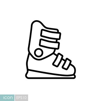 Ski boots vector icon. Winter sign. Graph symbol for travel and tourism web site and apps design, logo, app, UI