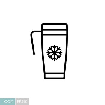 Travel thermo cup vector icon. Winter sign. Graph symbol for travel and tourism web site and apps design, logo, app, UI