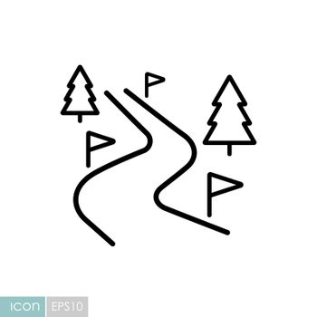 Ski route vector icon. Winter sign. Graph symbol for travel and tourism web site and apps design, logo, app, UI