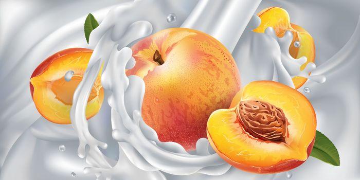 Peaches in a stream of milk or yogurt.