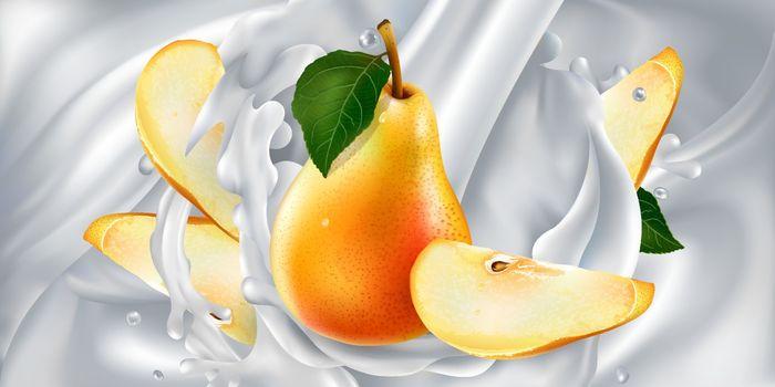 Pears in a stream of milk or yogurt.