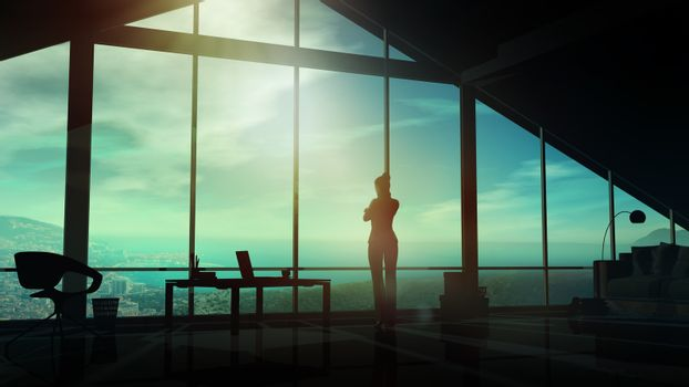 A business woman in her office looks at the coastal landscape.