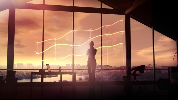 Silhouette of a businesswoman looks at the infographics at sunset.