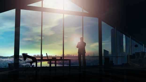 Businessman in a dark office looks at the cityscape.