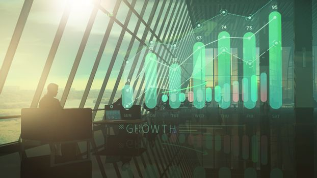 Corporate background office and holographic growth infographic.