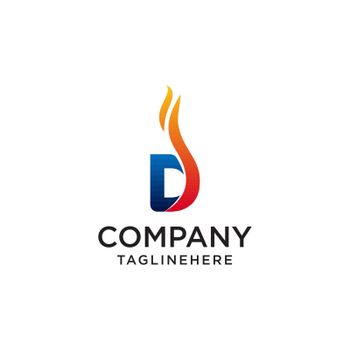 initial Letter D fire logo design. fire company logos, oil companies, mining companies, fire logos, marketing, corporate business logos. icon. vector