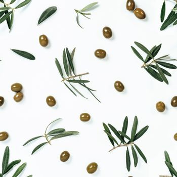 Seamless pattern with green olives and olives tree leaves and branches on white background. Olive photo pattern