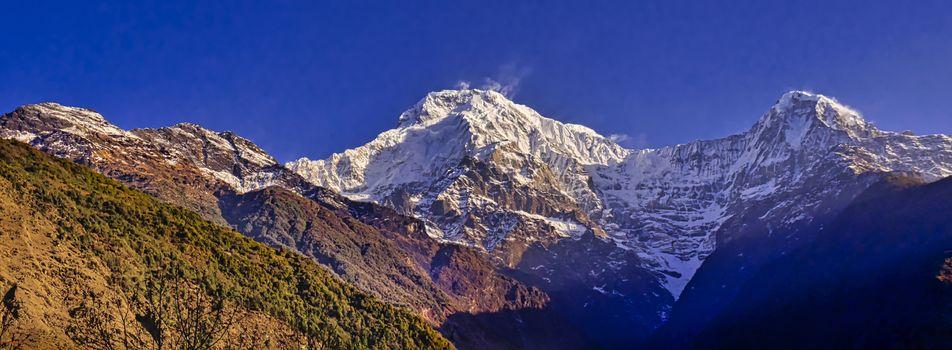 Annapurna South and Hiuchuli, Annapurna Conservation Area, Himalaya, Nepal