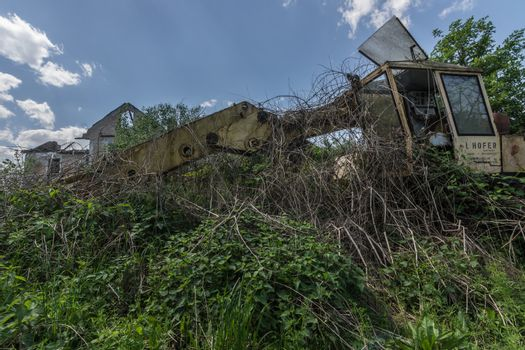 overgrown crane at a dilapidated house