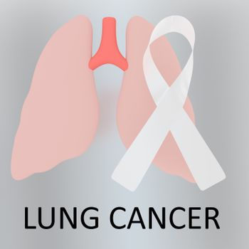 3D illustration LUNG CANCER script below an awareness ribbon of lung cancer and human lungs, isolated over colored background.