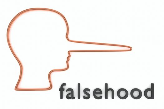3D illustration of head silhouette along with falsehood title, isolated on white.