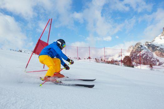 Slalom Skier attacks a gate