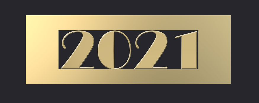 2021 Happy New Year. Gold digit 2021 in gold frame on black background. 3D render