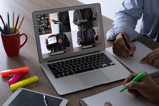 woman Video Conference Work Webinar Online Businessman Using Laptop At Desk and Watching Video Conference