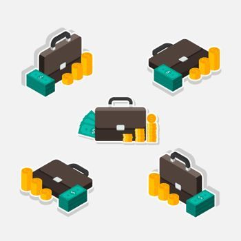 Briefcase, Dollar money cash icon, Gold coin stack Isometric & Flat White Stroke and Shadow icon vector. Flat style vector illustration.